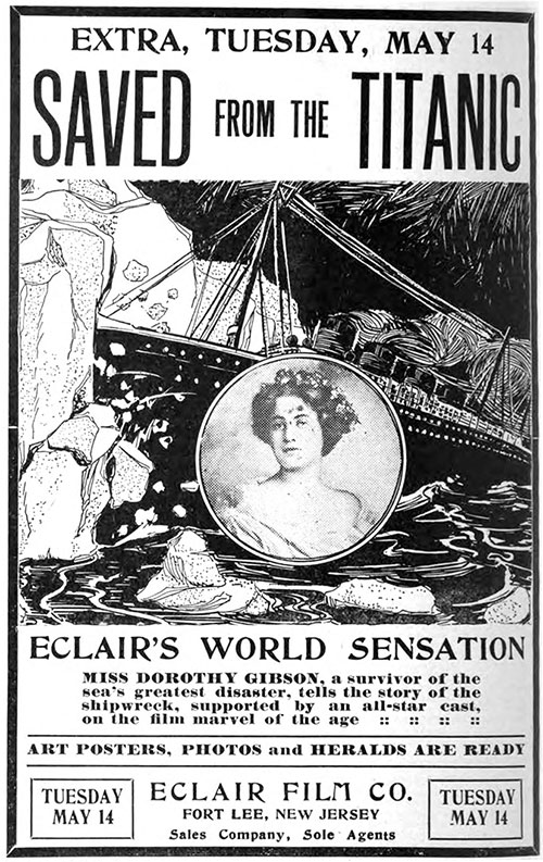Saved from the Titanic Film Poster for Its Premier on 14 May 1912