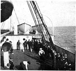 Passengers on the Deck of the S.S. Carpathia Enjoy a Deck Race