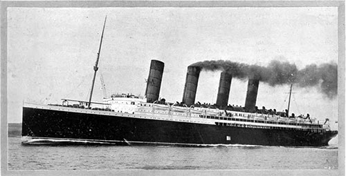 The New Cunard Line Steamship, RMS Lusitania at Sea in 1907