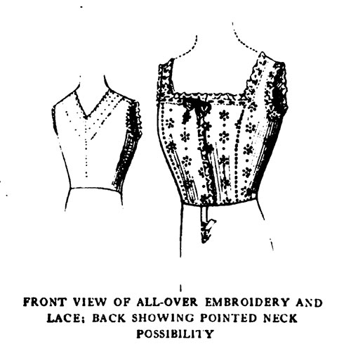 Front View of All-Over Embroidery and Lace; Back Showing Pointed Neck Possibility