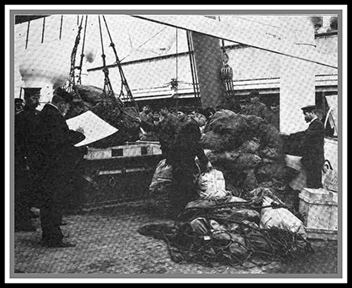 Checking the Mail Sacks on Board a Fast Mail Steamer