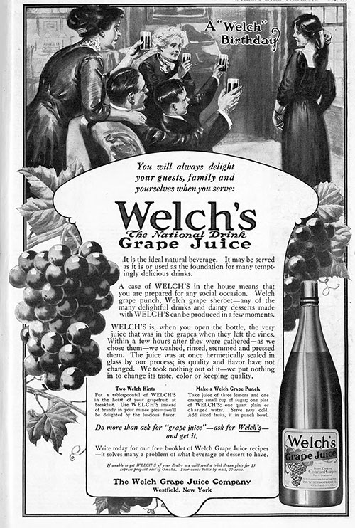 "Welch's Grape Juice - A ""Welch Birthday"" © 1912 The Welch Grape Juice Company"