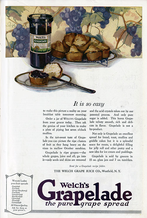 Welch's Grapelade - It Is So Easy © 1921 The Welch Grape Juice Company