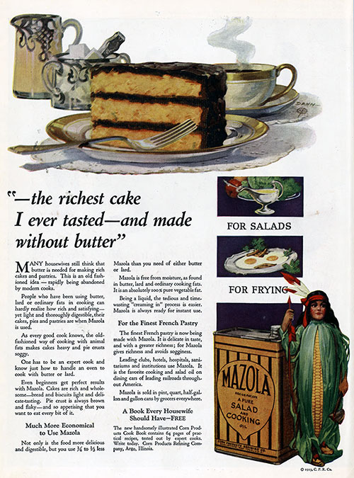 The Richest Cake I Ever Tasted - Mazola © 1921 Corn Products Refining Co.