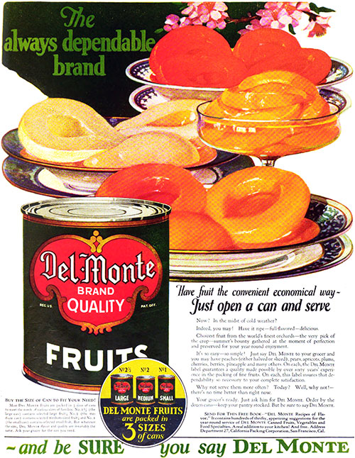 Del Monte Fruits Vintage Ad © 1923