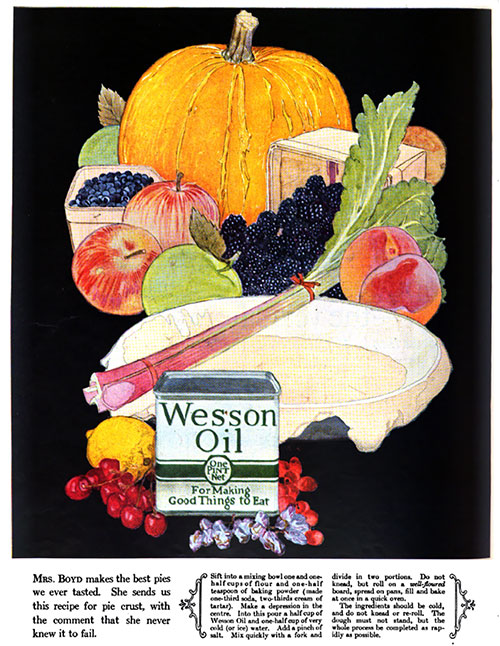 Wesson Oil - For Making Good Things to Eat © 1923