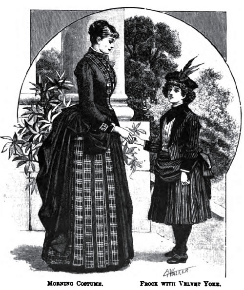 Morning Costume and Frock with Velvet Yoke - 1887