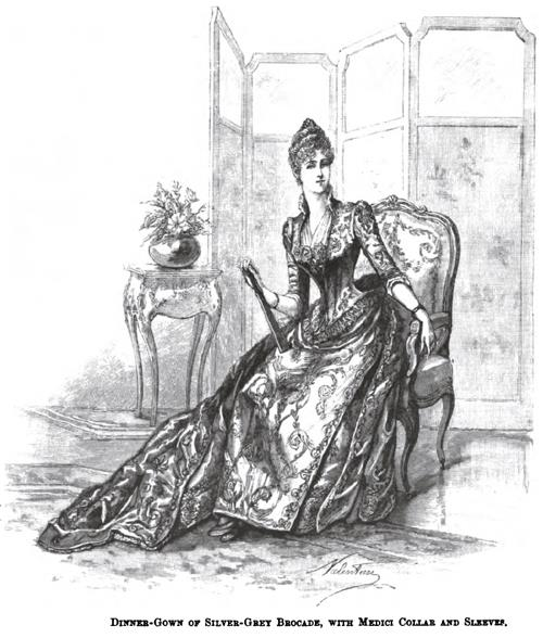 Dinner-Gown of Silver-Grey Brocade, with Medeci Collar and Sleeves.