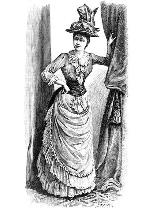 Costume de Campagne, from the Maison Morin Elossief. Hat, from the Maison Virot.