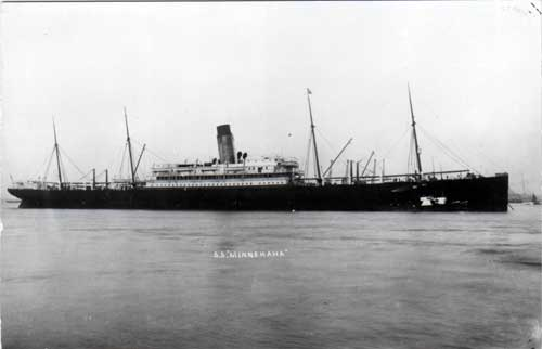 Photograph of the S.S. Minnehaha of the Atlantic Transport Line.