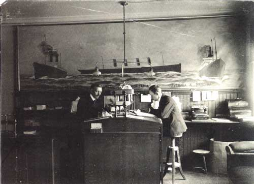 Cunard Line Ticket Agency - Trondhjem, Norway circa 1906