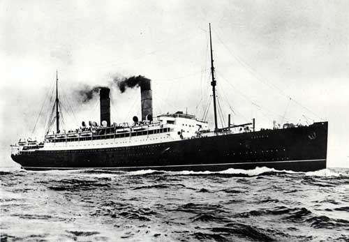 The Cunard Laconia in open seas