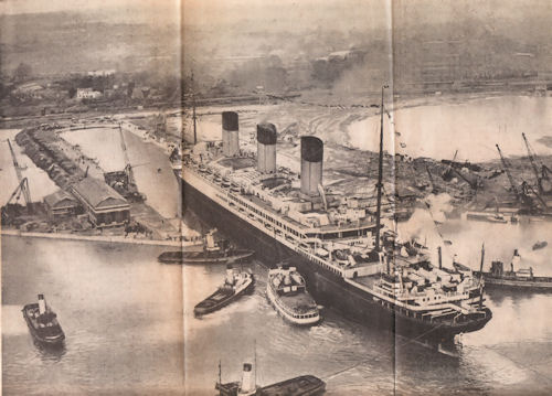 The White Star Line RMS Majestic Entering the King George V Graving Dock at Southampton