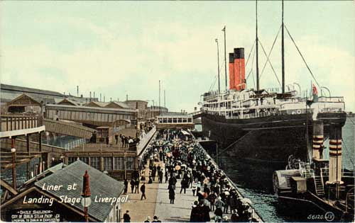 Liner at Landing Stage, Liverpool: Vintage Postcard