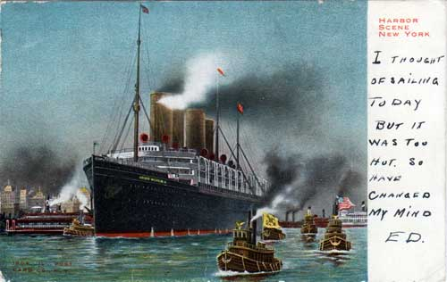 Colorized Postcard of the Kaiser Wilhelm II Entering the Harbor of New York June 1905.