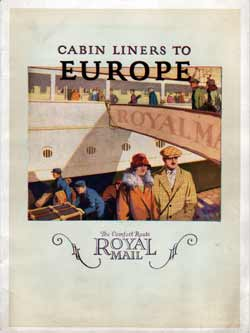 Royal Mail Cabin Class Service to Europe - 1920s Brochure