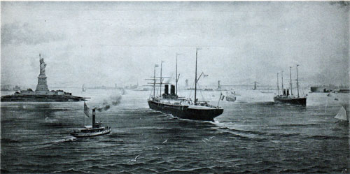 Steamship traffic near the Statue of Liberty, New York circa 1891.