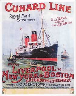 Poster from Cunard Line - Liverpool to New York and Boston c1900