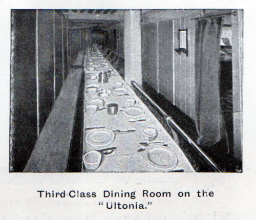 Third-Class Dining Room on the Cunard Ultonia circa 1902