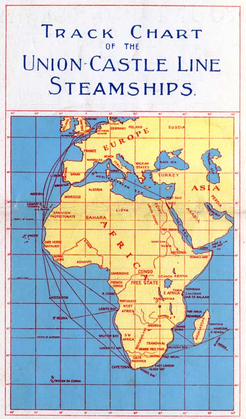 Track Chart of the Union-Castle Line Steamships, 1929