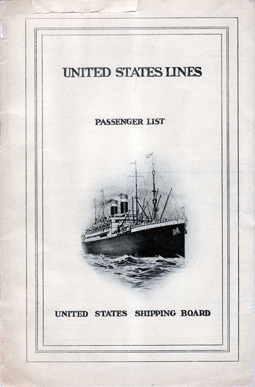 Passenger List, United States Lines, SS America 1924
