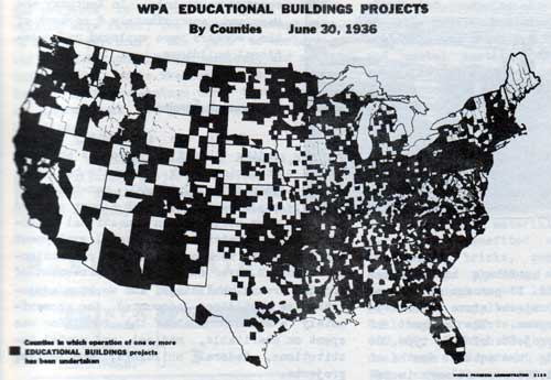 WPA Educational Buildings Projects By Counties, June 30, 1936