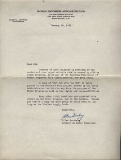 1937 Letter from Allen Forsberg to  Harry L. Hopkins regarding 1936 Brochure Our Job with the WPA.