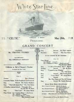 Grand Concert Programme, White Star Line S.S. Celtic