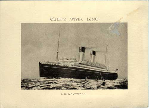 Illustration of the White Star Line SS Laurentic - 1928