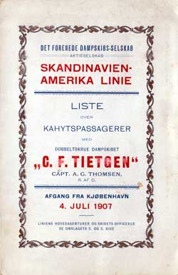 1907-07-04 Ships List for the S.S. C.F. Tietgen