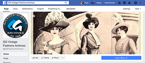GG Archives Vintage Fashions Facebook Page