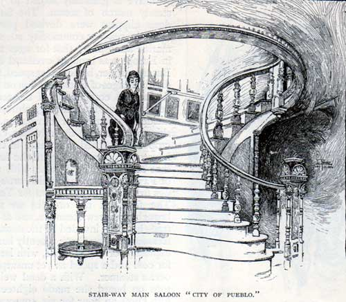 Stairway of the Main Saloon - City of Pueblo