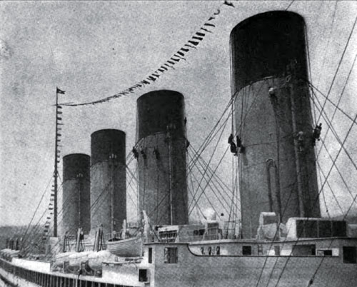 Photo16: Sailors Painting The Great Funnels Of The Olympic