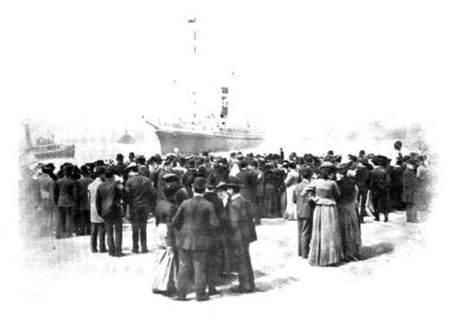 Photo07: Steamship Arriving At Port Greeted by a Large Crowd At The Pier