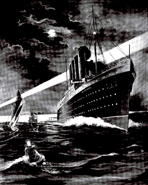 Ambrose Channel At Night 1907 RMS Mauretania