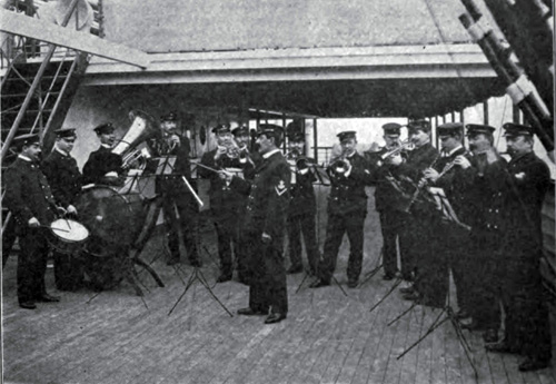 The Ship's Band Playing On Deck During A Performance At Sea