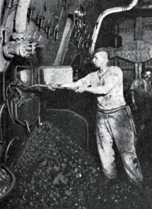 The Stoker at Work in a steamship circa 1910