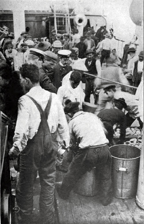 Preparing to Serve Meals to Steerage Passengers on the SS Lahn 1904