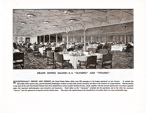 Grand Dining Saloon-S. S. Olympic and Titanic
