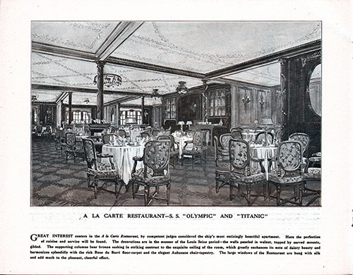 A La Carte Restaurant-S. S. Olympic and Titanic