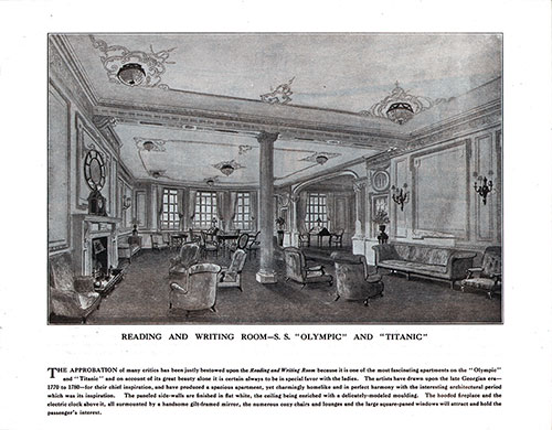 Reading and Writing Room-S. S. Olympic and Titanic