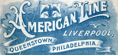 American Line Logo And Banner circa 1905