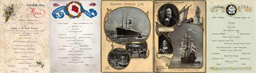 Vintage Menus from the Steamships and Ocean Liners