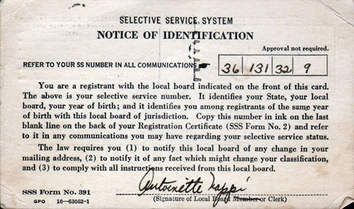 Back Side of Selective Service Notice of Identification