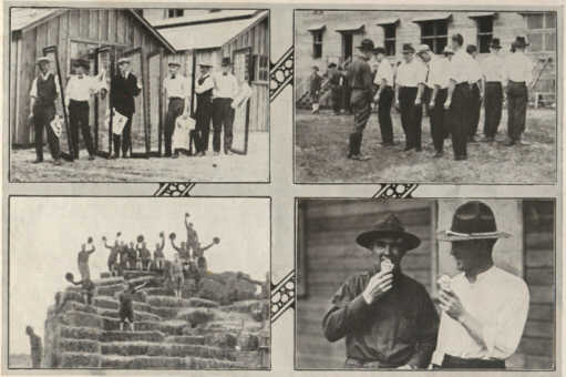 Photo01: Four scenes at Camp Dodge of the Soldiers