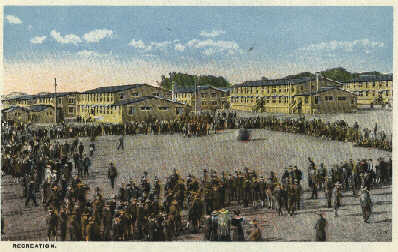 Postcard 04: Recreation for our soldiers at Camp Dodge
