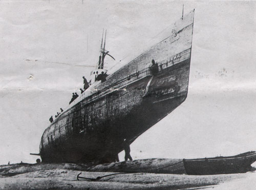 During the world war this German submarine was driven ashore in a storm