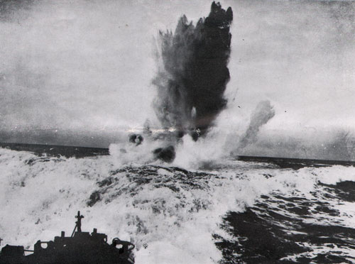 Depth Bomb Explosion by U. S. destroyer