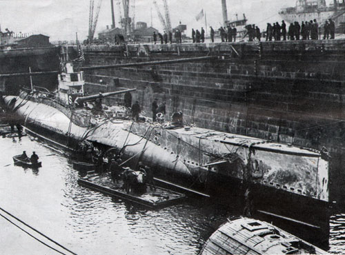 United States Submarine S-4 after being raised from bottom of ocean