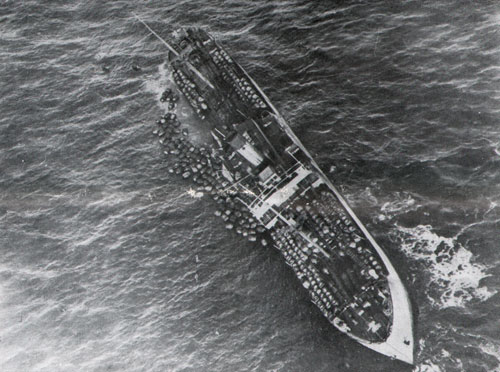 Ship shortly after being torpedoed